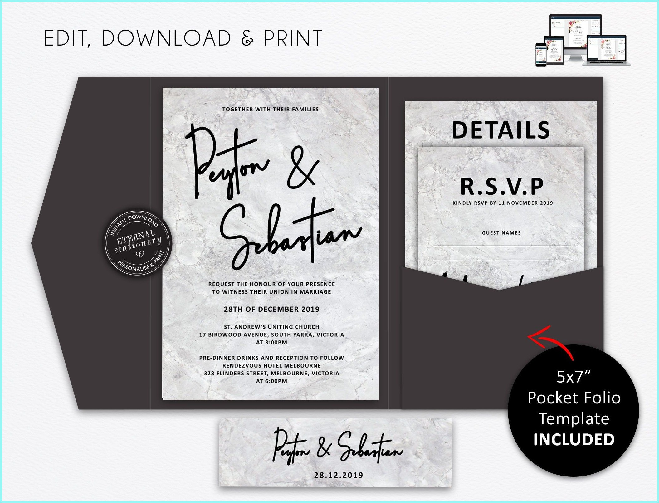 Printable Pocket Wedding Invitation Template