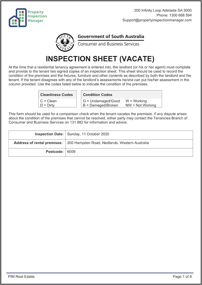 Property Condition Report Template Nsw