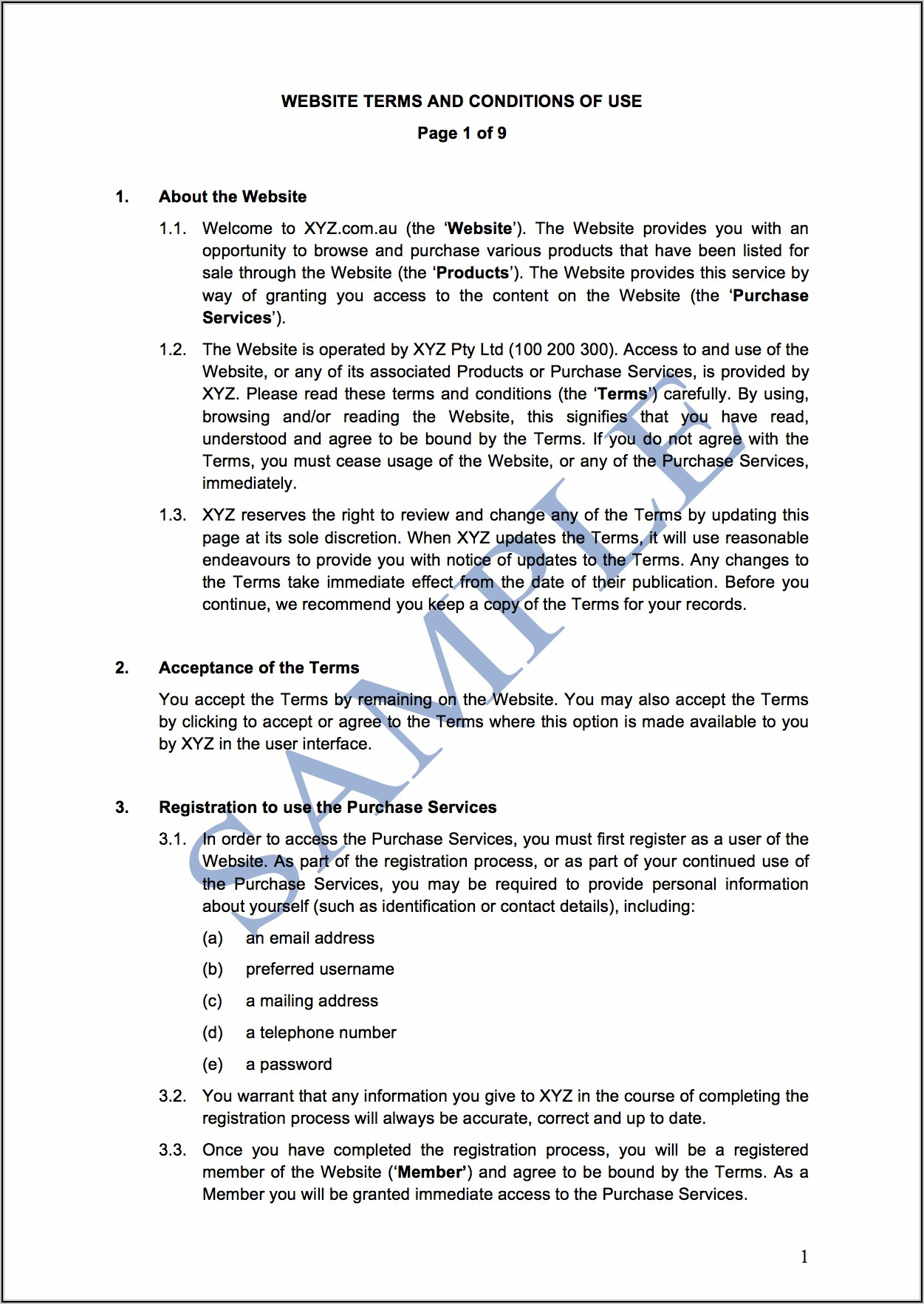 Purchase Order Terms And Conditions Template Australia