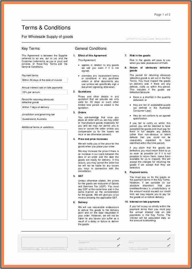 Purchase Order Terms And Conditions Template Uk