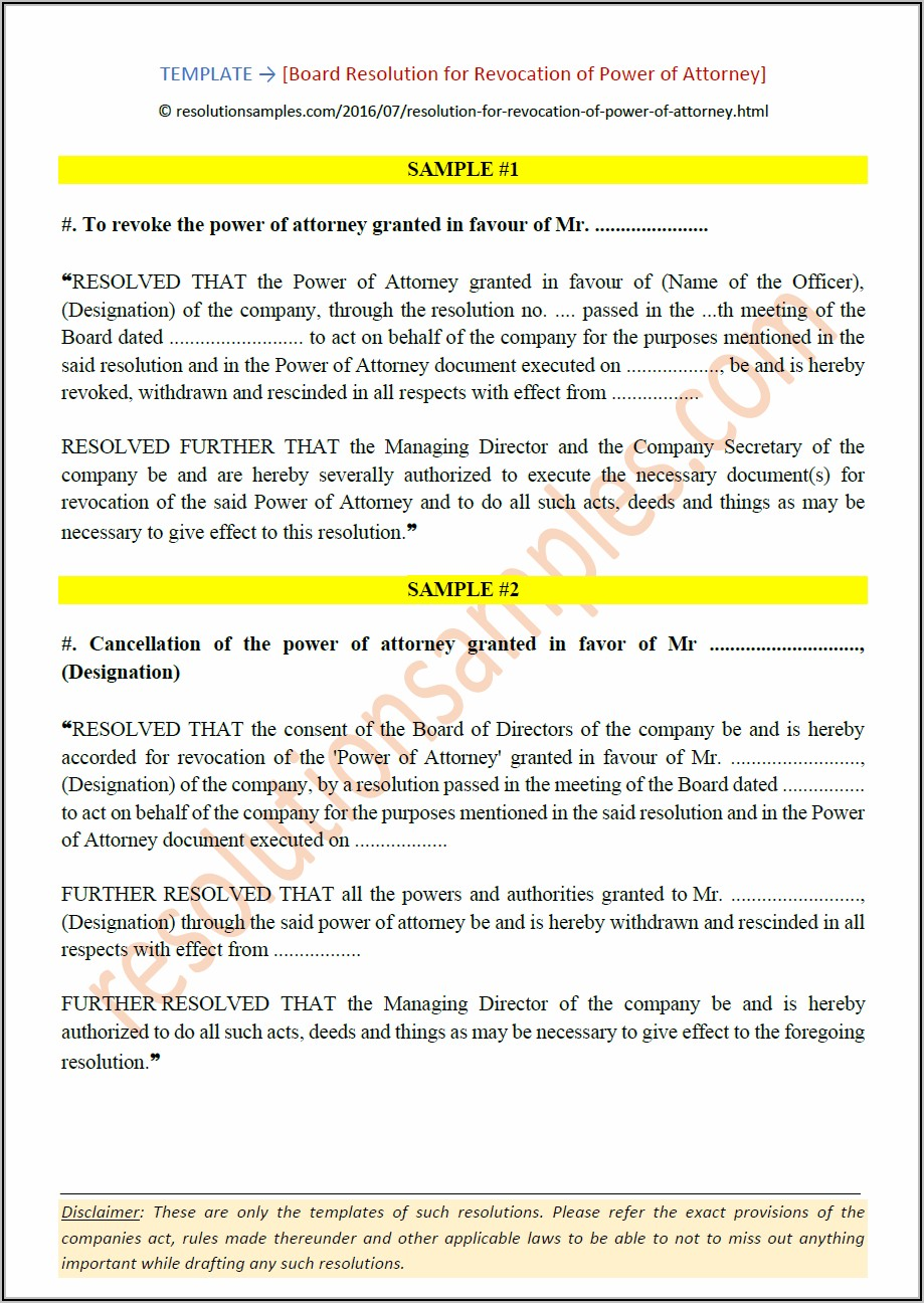 Revocation Of Power Of Attorney Format
