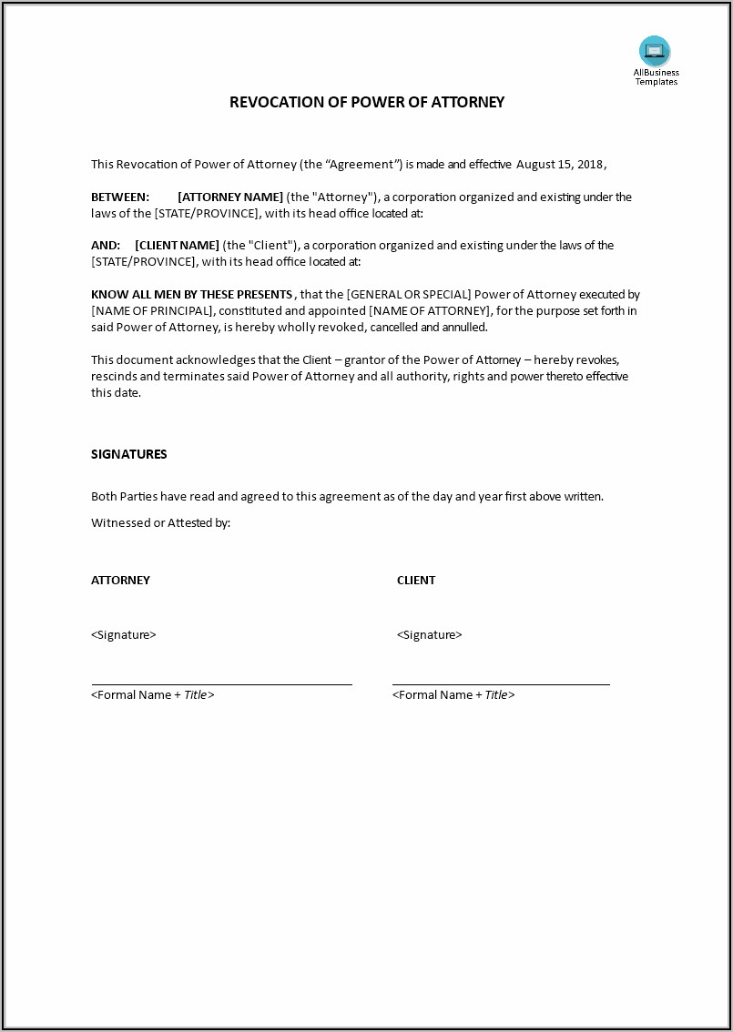 Revocation Of Special Power Of Attorney Template