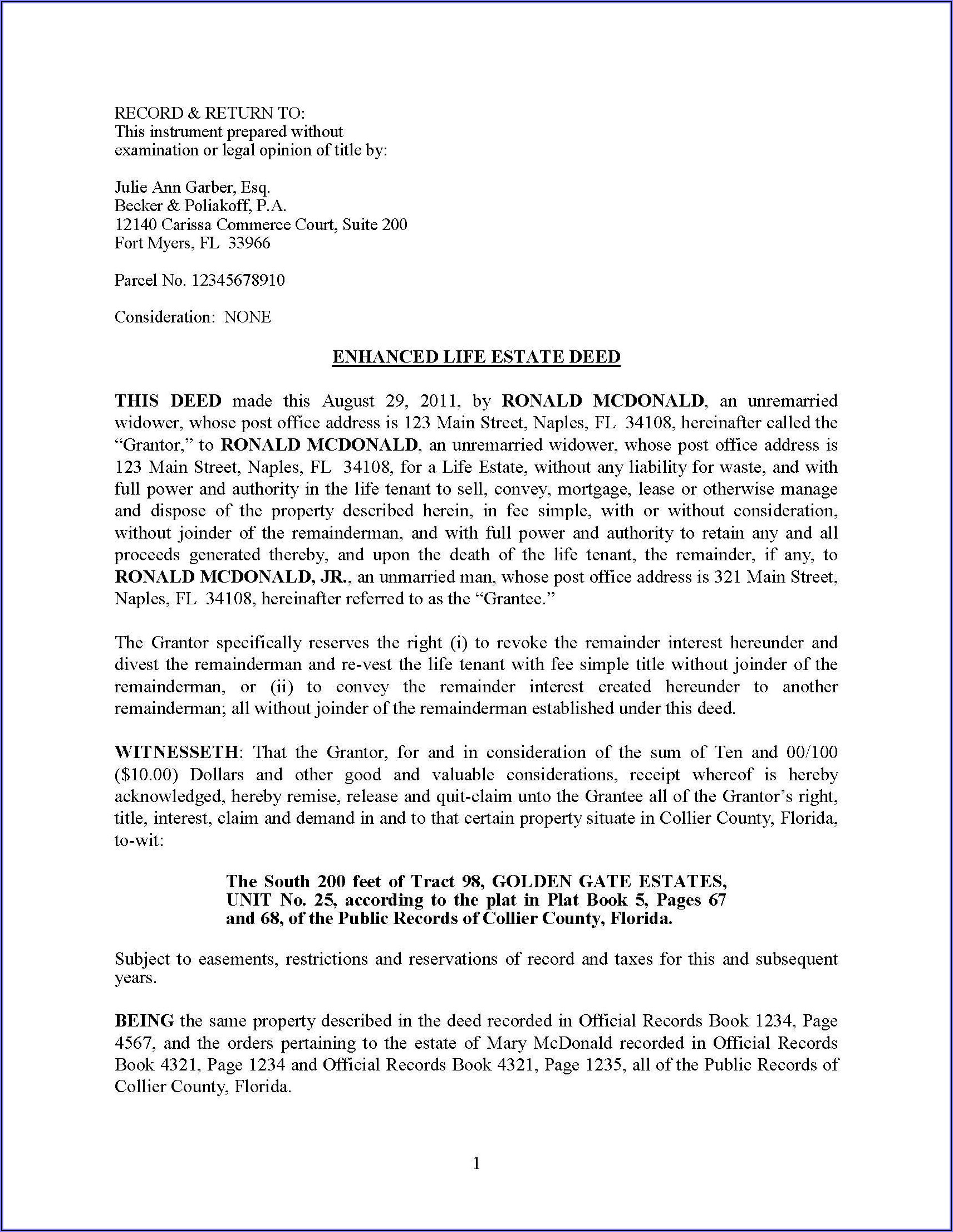Sample Quit Claim Deed Form Michigan