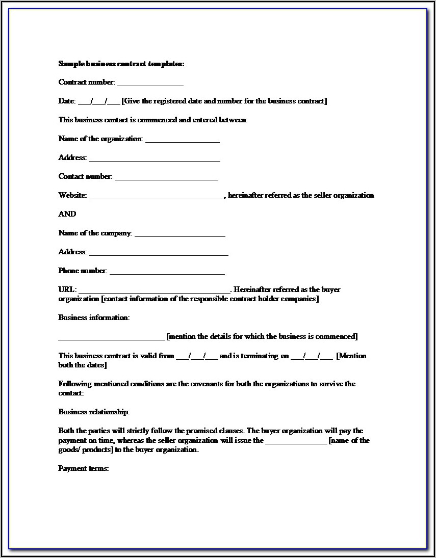 Small Business Contract Doc