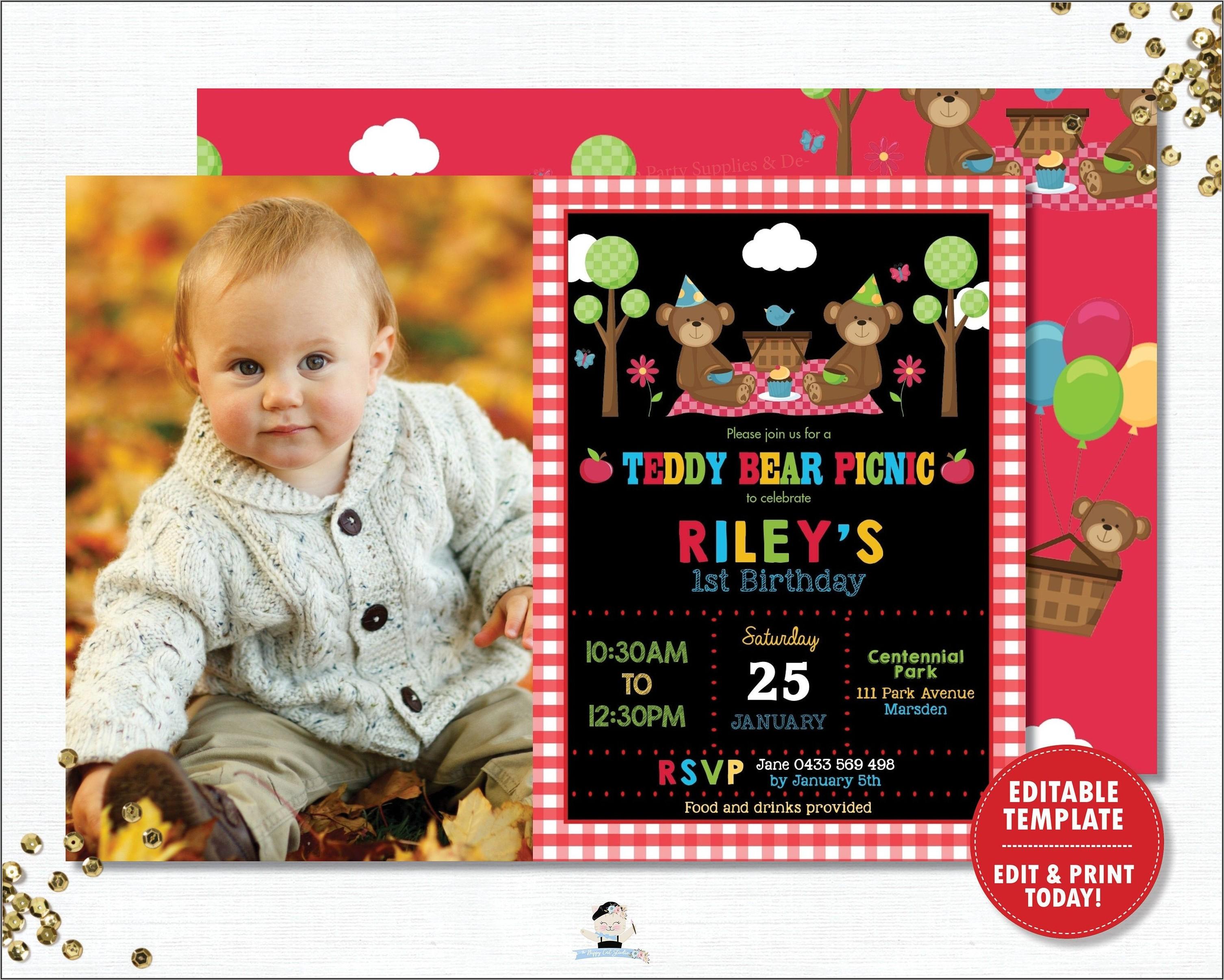 Teddy Bear Picnic Invitation Template