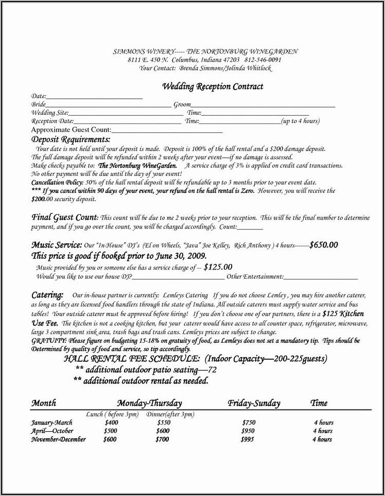 Wedding Venue Rental Contract Template