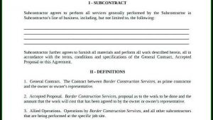 Construction Subcontractor Agreement Template Canada