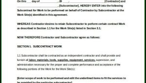 Construction Subcontractor Agreement Template Free