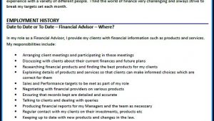 Cv Of Financial Advisor