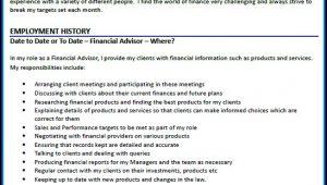 Cv Of Financial Advisor