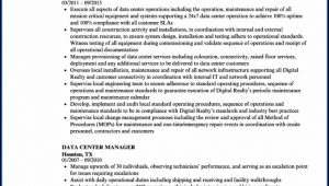Data Center Manager Resume Sample