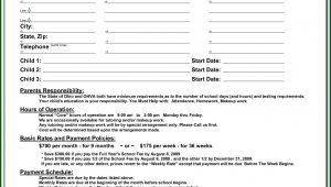 Daycare Contract Template Word