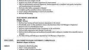 Electronic Assembler Resume Sample