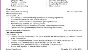 Examples Of Warehouse Worker Resume
