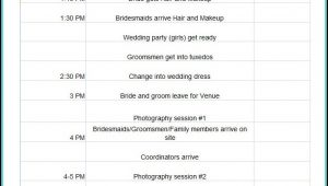 Free Wedding Day Itinerary Template