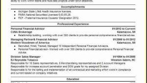 Resume Objective Financial Advisor