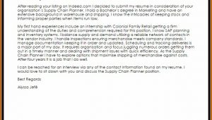 Supply Chain Planner Cover Letter