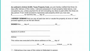 Texas 3 Day Notice To Vacate Form