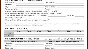 Tim Hortons Employment Application Form Pdf
