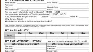Tim Hortons Employment Application Form Pdf