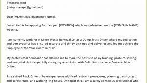 Truck Driver Resume Cover Letter