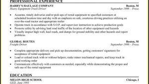 Truck Driver Resume Job Description