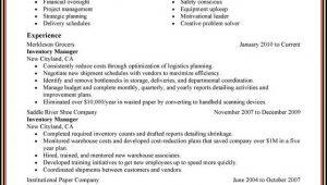 Warehouse Management Cv Sample